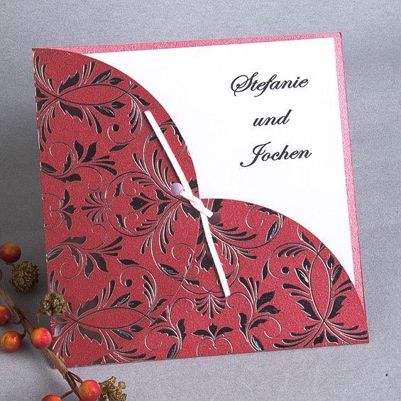 Eingeklappter Einsteckmantel Hochzeitskarte KP038