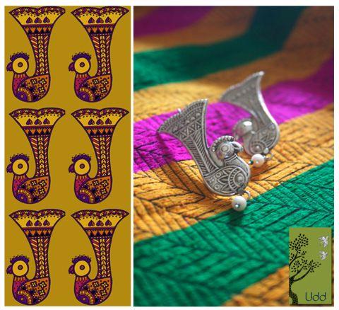 Udd panchi engraved earrings