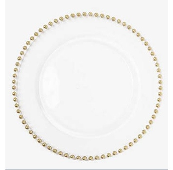 Beaded Gold Glass Charger possibilityTable Settings, Beads Gold, Chargers Possible, Dinner Tables Sets, Gold Glasses, Glasses Chargers