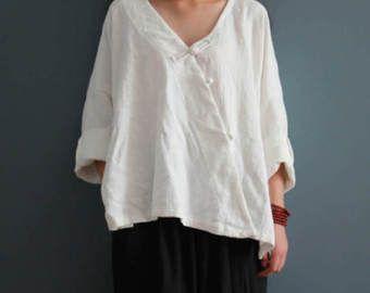 Woemn Loose Cotton Tops Plus Size Clothing Vintage Linen