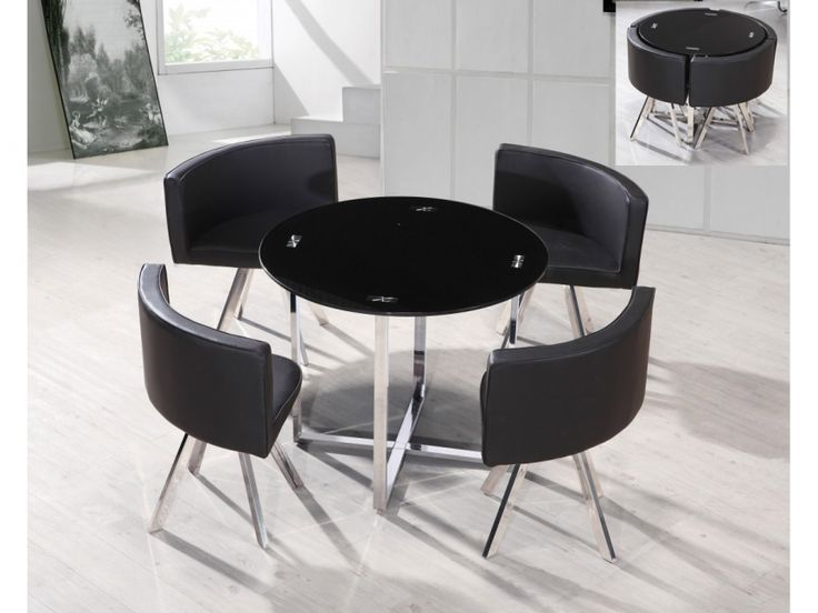 Superior Space Saving Dining Tables For Unique Spectrum Black Glass Space Saver Dining  Table In Futurist Architecture