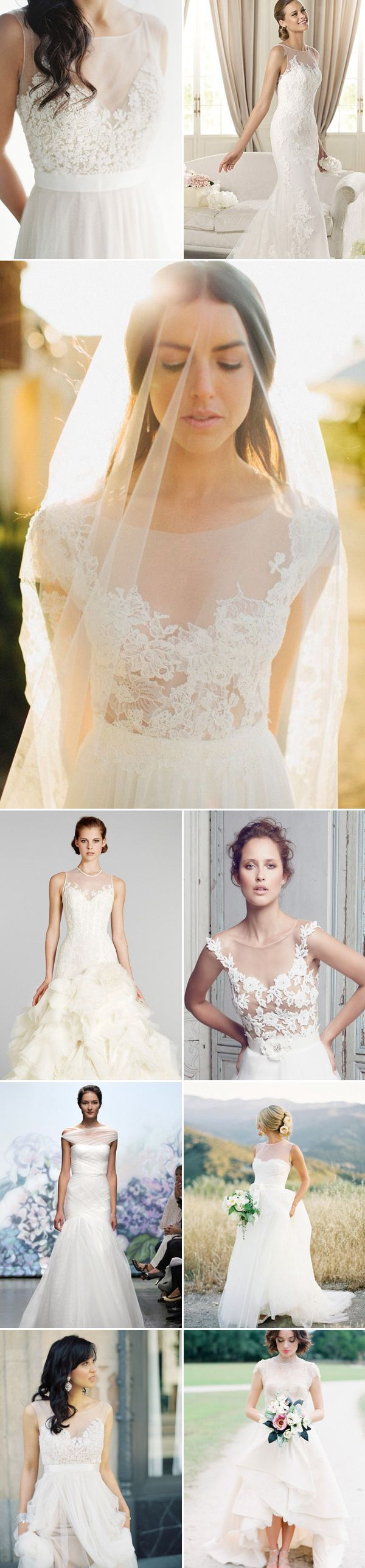 23 Gorgeous Wedding Dresses With Illusion Necklines - clear