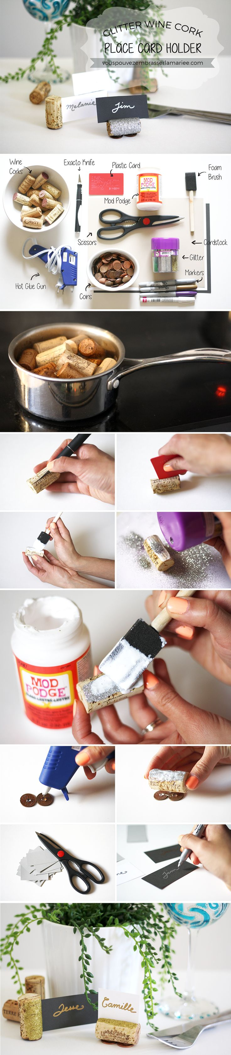 Amazing tutorial for Glitter Wine Cork Place Card Holder. Clear and very well explained. Great idea to use recycled wine corks for place card holders! And the glitter gives a lovely glamour touch!