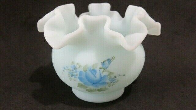 Fenton Handpainted Heart Dish; Fenton Blue Milk Glass