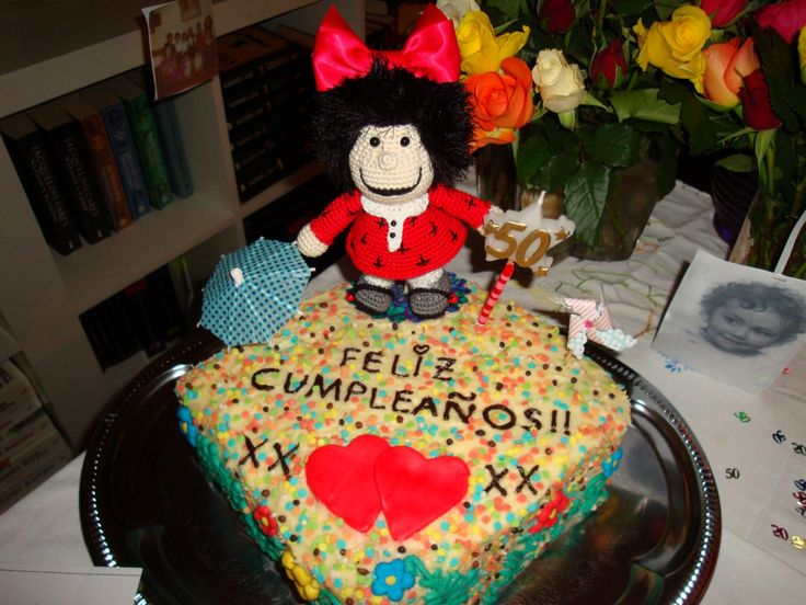Mafalda cake, specially made for my mom's 50th birthday. The doll was handmade for me (well actually my mom) by a friend.
