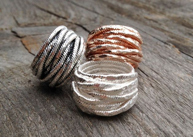 Gewickelte Ringe in Silber oder Rosegold, Weihnachtsgeschenk / sparky silver or rose gold rings by Miabrina via DaWanda.com
