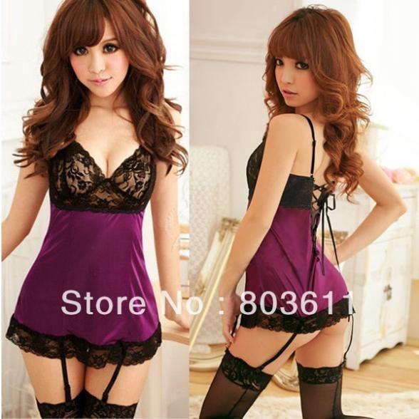 NEW Fashion Women Ladies Hot Sexy Lingerie Purple Satin Pajamas Sets Mini Dress with Garter+ G-string #Affiliate