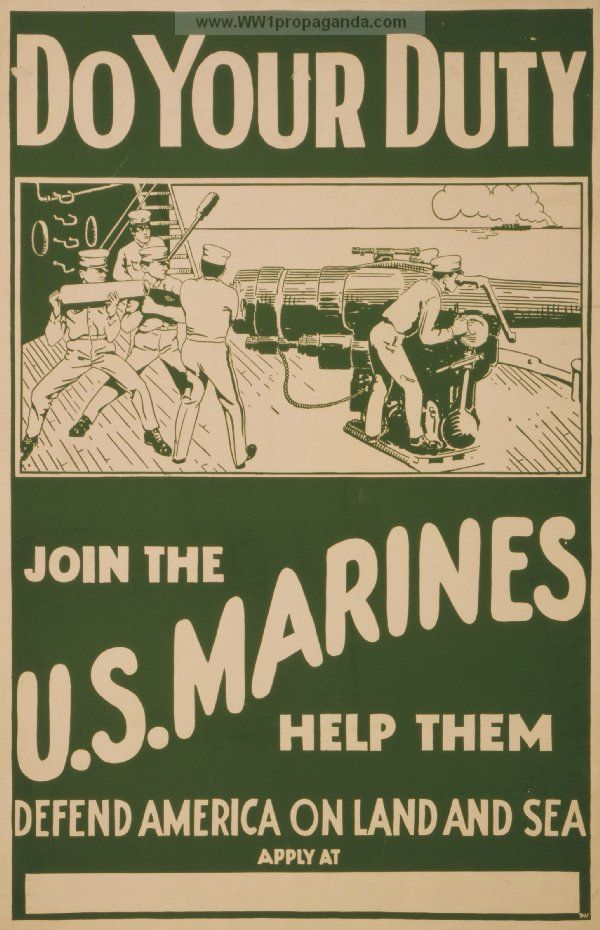 marine corps propaganda posters | ... Marine Corps recruitment poster showing marines firing artillery from