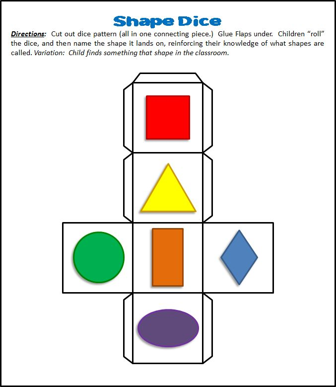 "Shape Dice Pattern.  Children ""roll"" the dice, and then name the shape it lands on, reinforcing their knowledge of what shapes are called. Variation: Child finds something that shape in the classroom."