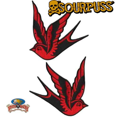 Add a little flash to your boring jacket or bag with a pair of these Sparrow patches! This set includes two black & red traditional tattoo-inspired sparrows. You can adhere your patch with an iron and reinforce with sewing.