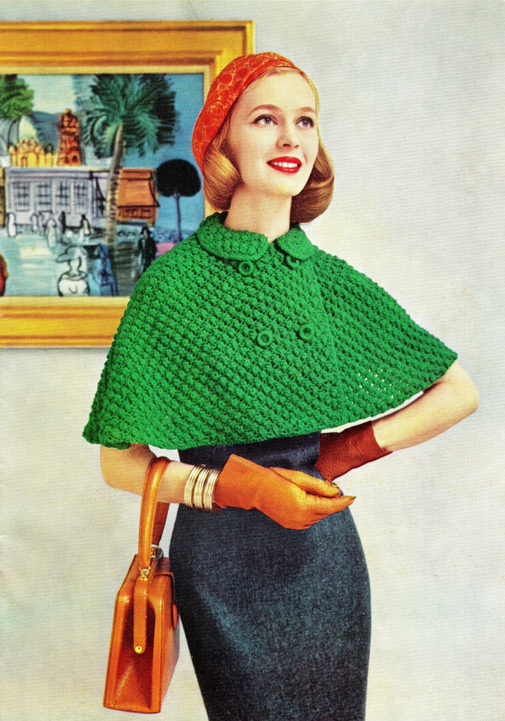 """I need a red capelet! Well, and matching hat. {Vintage 50s Knitted """"CAPELET"""" Swing Jacket PDF Pattern CAPE}"""