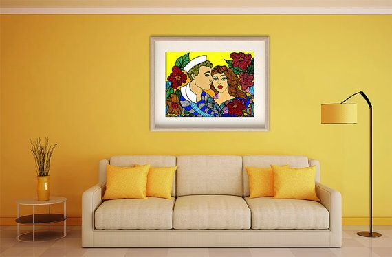 Lady and sailor poster sailor wall art lady sailor by ArtChromata