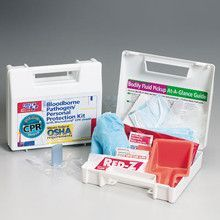 25 piece Bloodborne pathogen/personal protection kit with Microshield® CPR faceshield- plastic case- 1 ea.