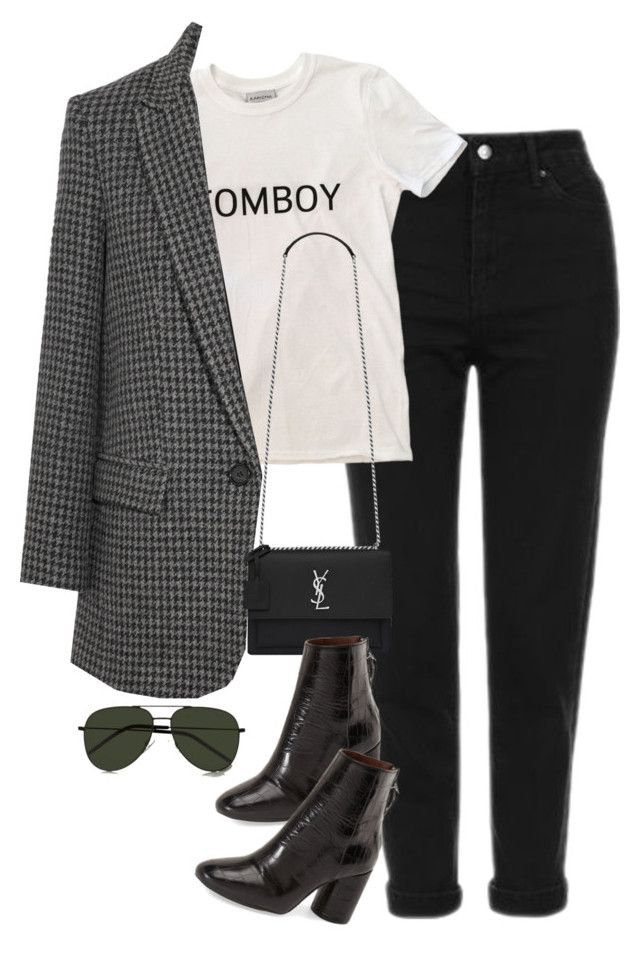"""Sem título #1571"" by oh-its-anna ❤ liked on Polyvore featuring Yves Saint Laurent, Topshop and Étoile Isabel Marant"