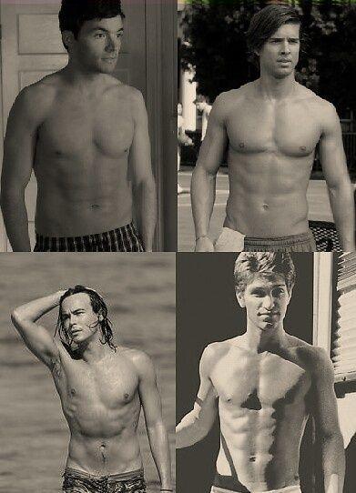 Ezra (Ian Harding), Jason (Drew Van Acker), Caleb (Tyler Blackburn) and Toby (Keegan Allen)