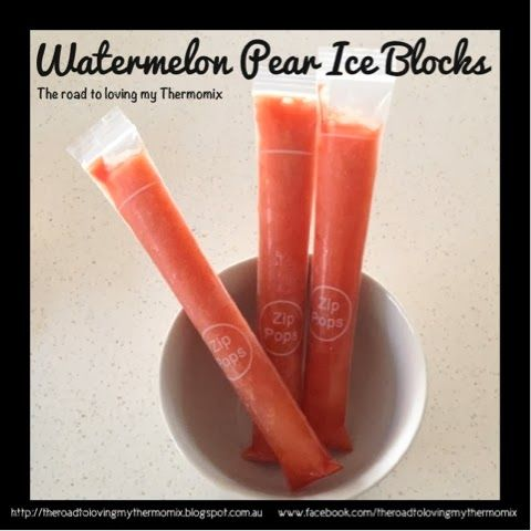#Watermelon Pear Ice Blocks blitzed with your #Thermomix