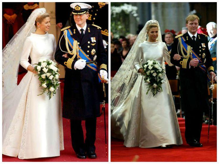 02/02/2002 Maxima Zorreguieta e il principe d'Olanda Willem Alexander Orange - Nassau. Abito disegnato dalla maison Valentino.