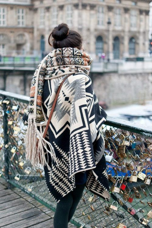 patterned ponchos
