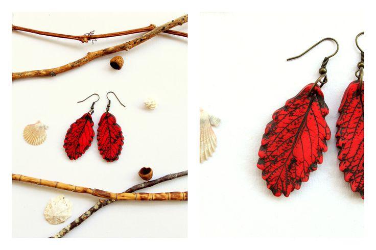 Ohrringe  rote Blätter  von Ranitas Art auf DaWanda.com