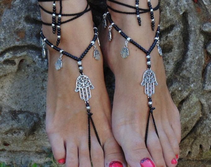 Hamsa barefoot sandals Black and silver crochet barefoot Foot jewelry Hippie sandals Toe ring Anklet Tribal sandals Yoga hand of Fatima