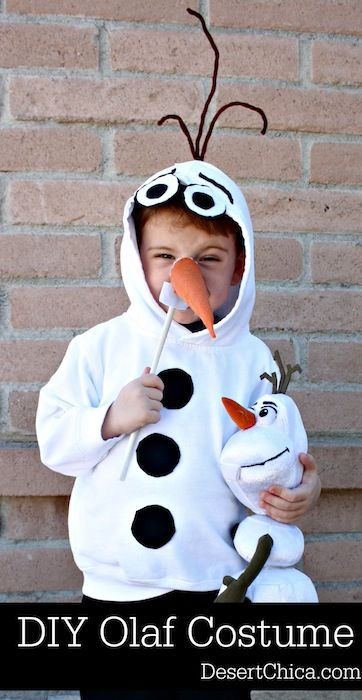 How to make an easy Olaf Costume from a sweatshirt, perfect for your little FROZEN fan.