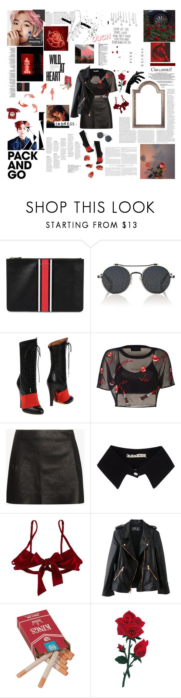 """""""— sadness."""" by julia-ngo ❤ liked on Polyvore featuring Givenchy, Anja, Vetements, Marni, Myla and Rosegold"""