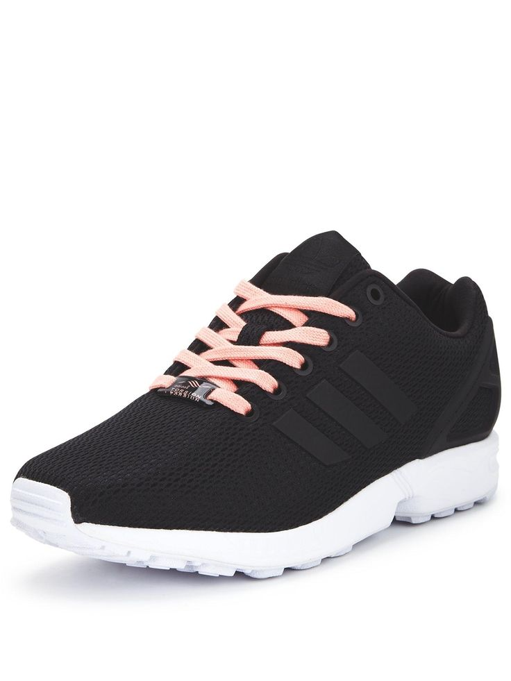 adidas Originals ZX Flux Womens Trainers An instant hit when they launched back in the eighties, the ZX Flux trainers by adidas Originals have re-imagined their look ready for AW15.Their one-piece nylon upper comes in a sleek black colourway to maintain their classic appeal, while contrasting laces and chunky outsole details create a refreshing pop. All about the style, they add support and comfort with their TORSION® System and moulded plastic heel cage for a better fit and wear.Team them…