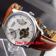 Parnis 43mm White dial power reserve seagull movement date brown strap deployant clasp Automatic movement  Men's watch 413(China (Mainland))