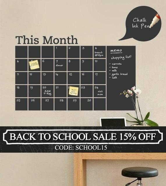 Chalkboard Wall Calendar with Memo  Vinyl Wall Decal