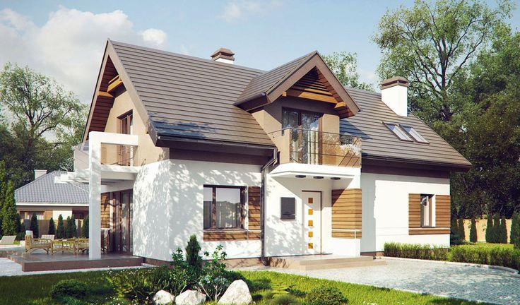 Dom parterowy z poddaszem użytkowym, balkonami i tarasem od strony zachodniej oraz nowoczesną elewacją. #projekty #domów
