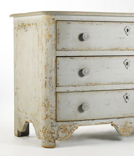 Vintage Swedish Gustavian French Country Gray Wash Hand Paint Gold .