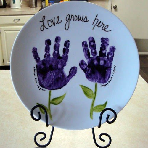 Love Grows Here Handprint Ceramic Plate Art