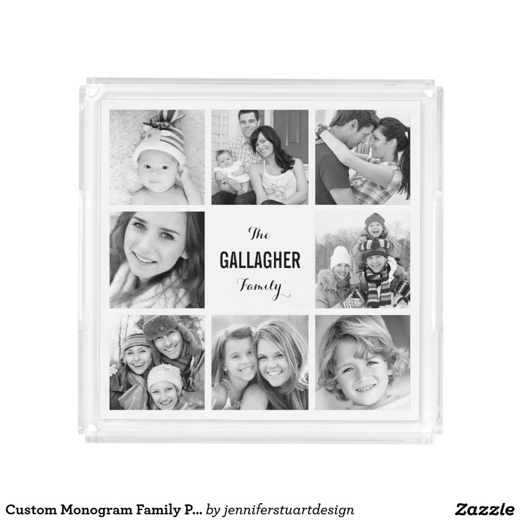 Custom Monogram Family Photo Collage. Inspiration to create your product. The photograph must have good resolution. Inspiración para crear tu producto. La fotografía debe tener buena resolución. Bandejas Serving Trays, home decor, decoración. Producto disponible en tienda Zazzle. Decoración para el hogar. Product available in Zazzle store. Home decoration. Regalos, Gifts. #Bandejas #Serving #Trays
