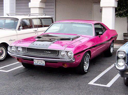 Pink Dodge Challenger. i lie, i want this!
