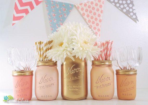 Baby Shower Centerpiece Mason Jars Vase Pink Peach Orange Coral Gold Girl
