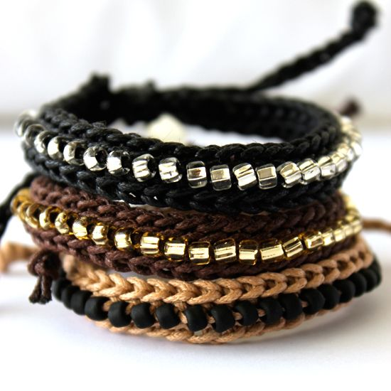 Waxed Cotton Faux Leather Bracelets: Crochet Bracelet