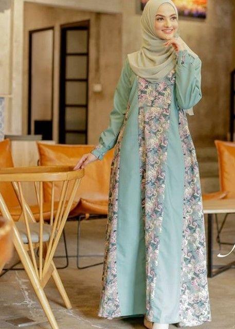 Model Baju Gamis Batik Kombinasi Satin Terbaru Soft Blue. Kunjungi. Februari  2019 d4ef9c3fd0