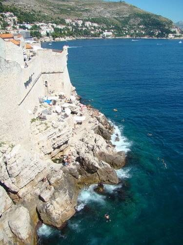 Café Buza, built into the rocks outside the old city walls in Dubrovnik.