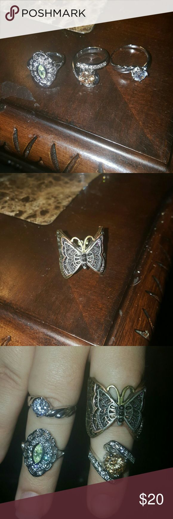 Diamond Candle Rings Sizes unknown. Butterfly has a stretch band and is not a Diamond Candle ring. Never worn Jewelry Rings