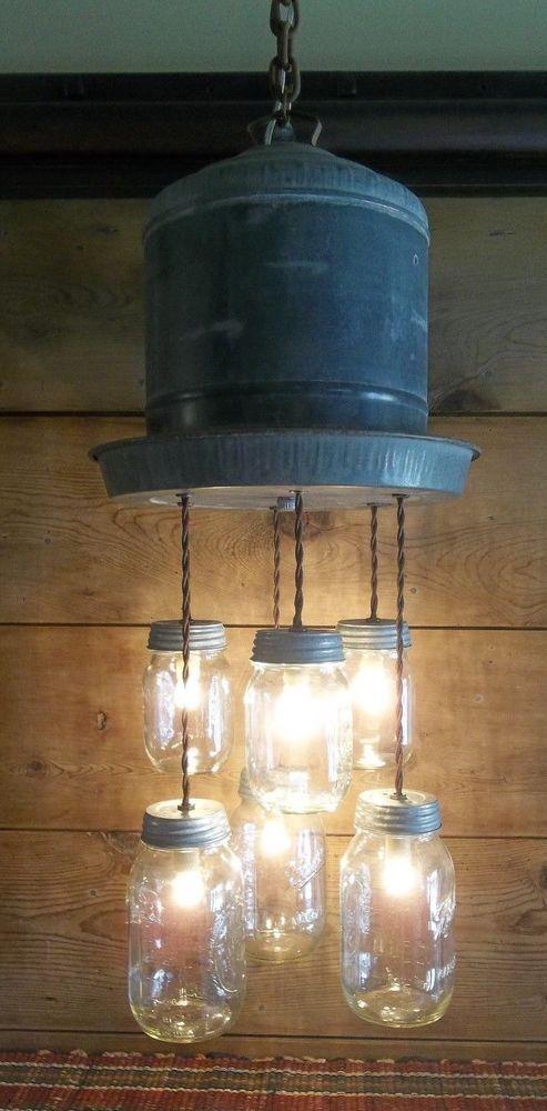 FARMHOUSE Galvanized Chicken Waterer & Mason Jar Light Fixture-Rustic Plug-in