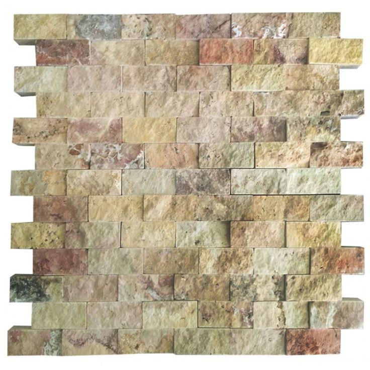 Scabos 2.5X5 Fileli Patlatma Taş   www.tasdekorcum.com #dekor #patlatmatas #mozaik #dogaltas#naturalstonemosaic #naturalstone  Natural Stone Mosaic Natural Stone Wall Natural Stone Mosaic Subway Wall Tile Fileli Patlatma Taş Doğal Taş Patlatma Mozaik