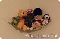 """Hammocks for stuffed animals can make it so much easier to keep a room a bit more """"uncluttered"""".  Check the link for a set of easy to follow instructions of How to Make a Stuffed Animal Hammock!"""