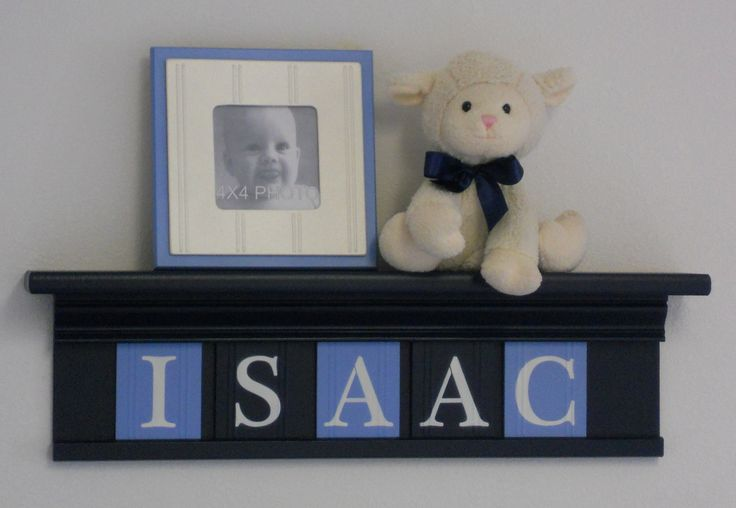 """NAVY BLUE Nursery Wall Decor / Room Decor - Personalized for ISAAC on 24"""" Navy Shelf with 5 Pastel Baby Blue and Navy Blue Wall Letters. $40.00, via Etsy."""