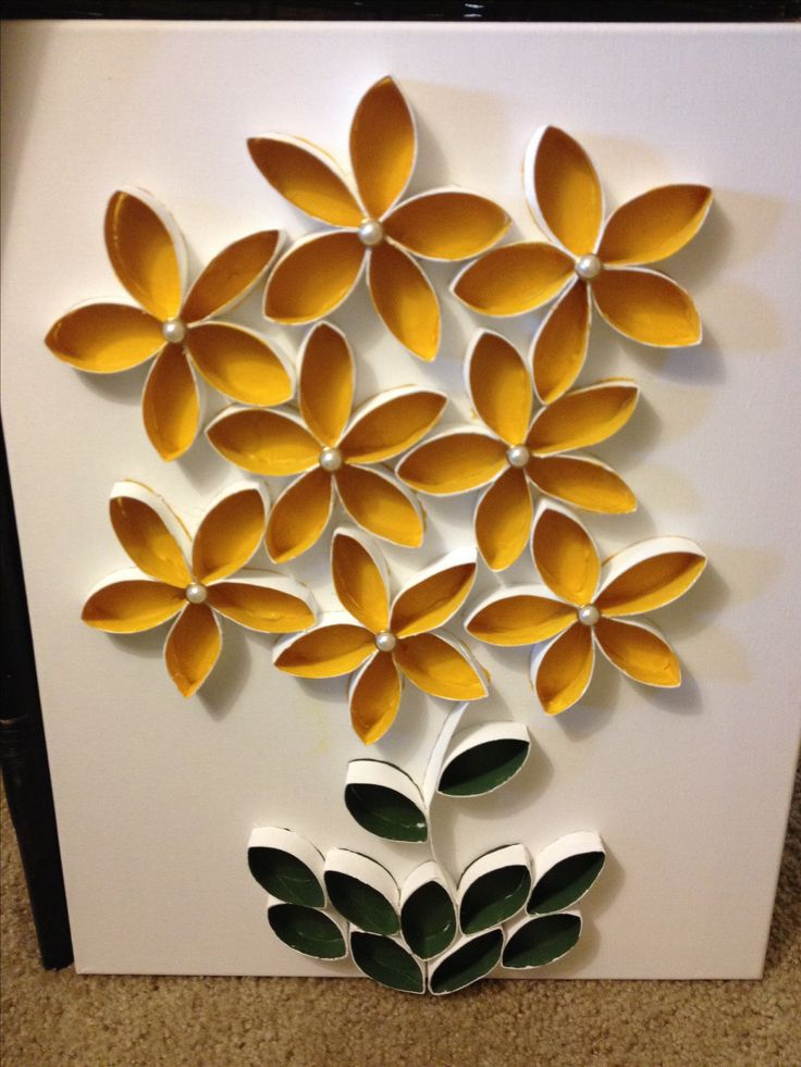 Toilet Paper roll art. Make more and it can be a flower garden on the wall. Great for school walls too