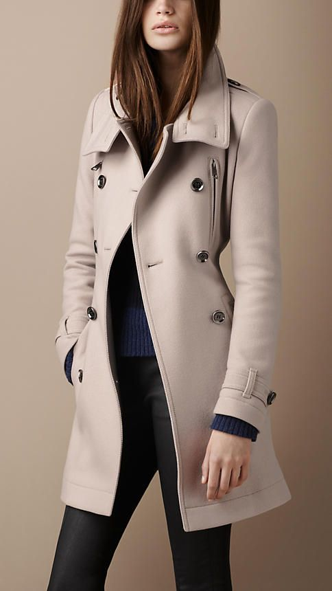 Burberry - FUNNEL NECK WOOL COAT (£695)