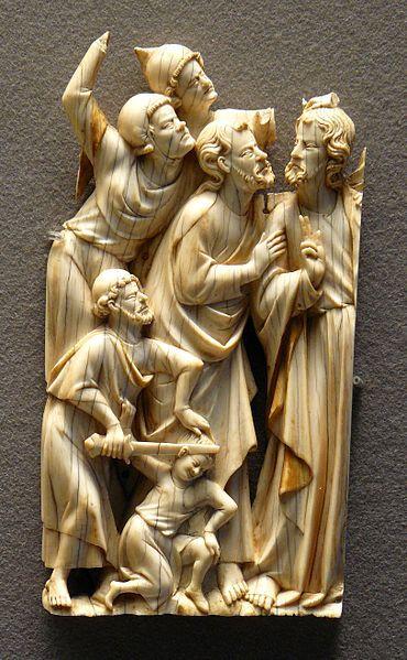 Arrest of Christ,ivory and traces gilt.  Paris 1320-30  Louvre Museum