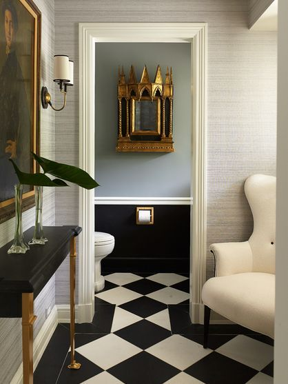 Jean Louis Deniot. Floor layout is stunning...nice they painted out the powder room baseboard to match the wall...Love these colours...