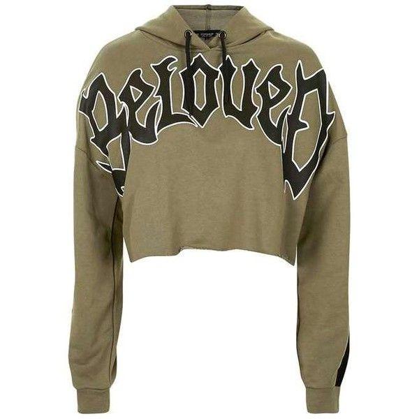 TopShop Beloved Hoodie ($34) ❤ liked on Polyvore featuring tops, hoodies, sweaters, green, jackets, jumper, sweat, cropped hooded sweatshirt, hooded sweatshirt and brown hooded sweatshirt