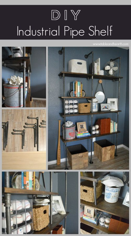 Tutorial on how to make a customizable iron pipe shelving unit with rustic wooden shelves.