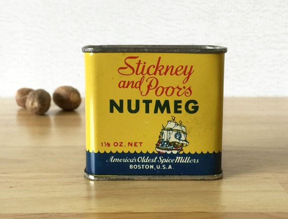 Stickney and Poors Nutmeg Spice Tin / Food by RedRavenCollectibles